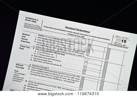 Schedule A 2015 Income tax form