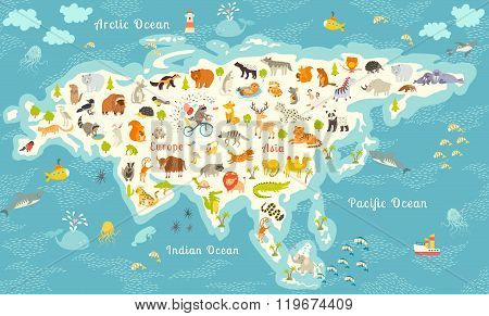 The most detailed animals world map Eurasia. Also birds ocean life reptiles and mammals. Beautiful cheerful colorful vector illustration. With the inscription of the oceans and continents poster
