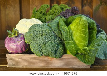 Fresh Organic Market Vegetables On Wooden Background