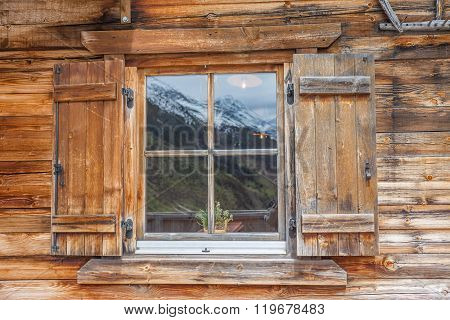 Window Of A Mountain Cabin