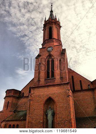Lithuania. Druskininkai. City Park . Catholic Church.