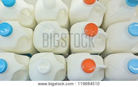 Milk Bottles On Shelf