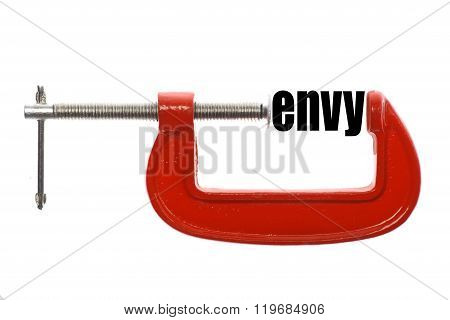 """The word """"envy"""" is compressed with a vice. poster"""