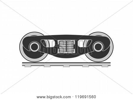 Wheels and bogie silhouette. Isolated on background. Vector illustration.