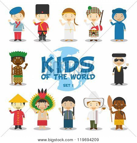 Kids of the world vector illustration: Nationalities Set 1. Set of 12 characters dressed in different national costumes (France, Russia, Greece, Scotland, Algeria, Congo, Iraq, China, Amazon, Guatemala, Colombia and New Zealand/Maori).
