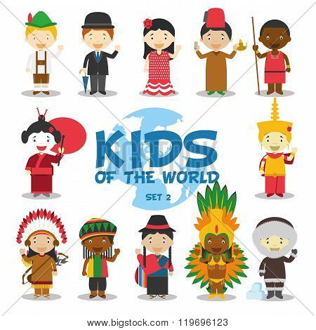Kids of the world vector illustration: Nationalities Set 2. Set of 12 characters dressed in different national costumes (Germany, UK, Spain, Morocco, Kenya/Masai, Japan, Cambodia, USA, Jamaica, Ecuador, Brazil and Greenland).