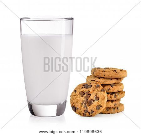 Milk And Chocolate Chip Cookie On White Background