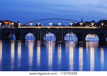 Bridge On Meuse River In Maastricht