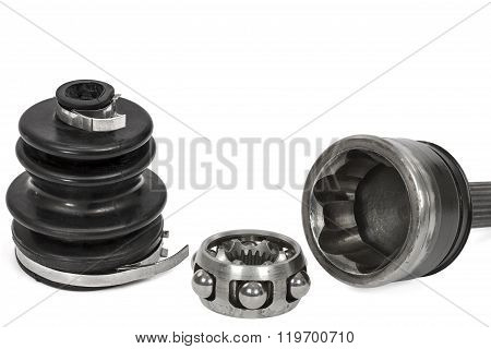 Anther And Hinge Of The Wheel Car, Isolated On White Background