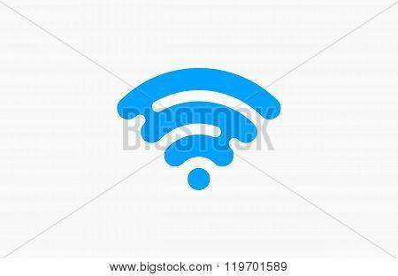 Wi-Fi network icon. Blue Logo. Creative logo design.