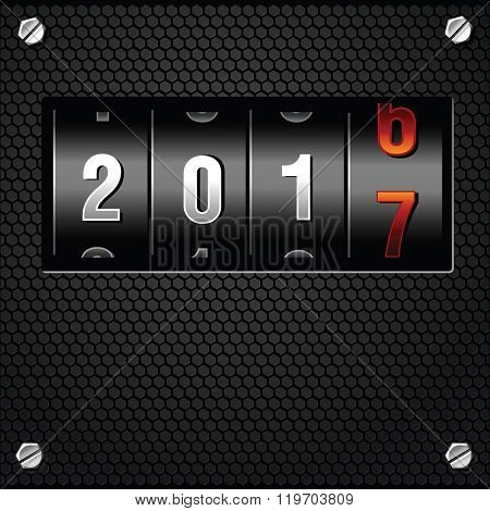 2017 New Year Analog Counter detailed vector