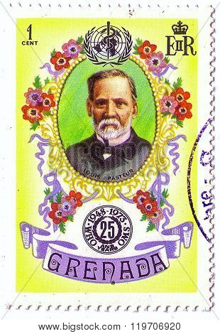 Grenada - Circa 1973: Postal Stamp Printed In Grenada Shows Louis Pasteur, Series 25Th Anniv Of Who,