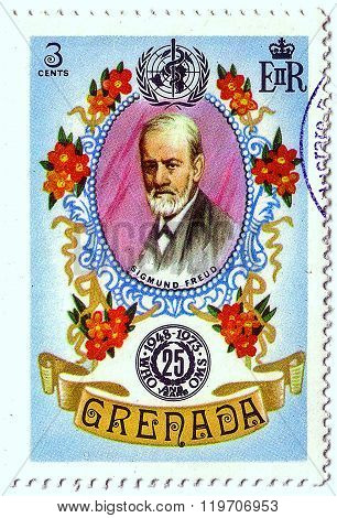 Grenada - Circa 1973: Postal Stamp Printed In Grenada Shows Sigmund Freud, Series 25Th Anniv Of Who,
