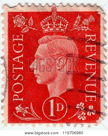 United Kingdom - Circa 1937: A Stamp Printed In United Kingdom Shows Portrait Of King George Vi, Cir