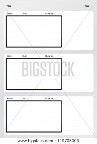 Hdtv Storyboard Template 3 Frame Image Photo Bigstock