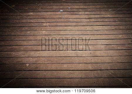 Old And Weathered Dark Brown Wood Plate Floor