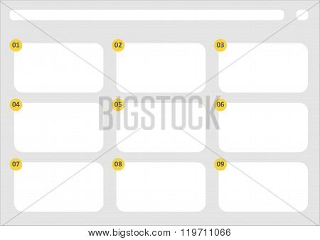 Hdtv Classical Style 9 Frame Storyboard Template Grey