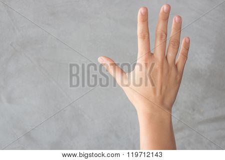 Hand Action Gesture On Grey Background
