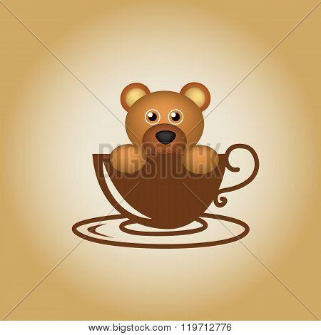 Animal  coffee cartoon cute logo drink vector