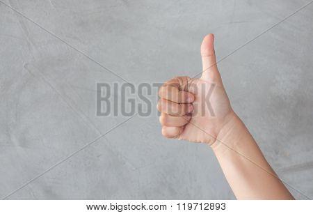 Hand Action Gesture On Grey Background