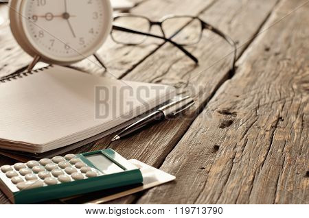 Notebook With Pen, Calculator With Credit Card And Alarm Clock