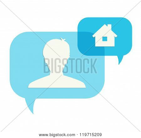 Two Speech Bubbles With Head And House Pictogram