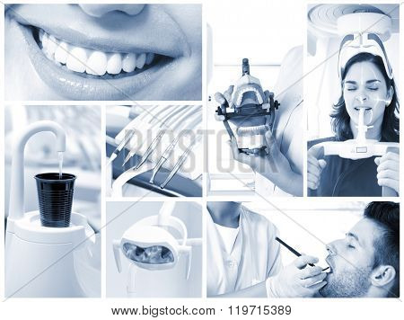 Image mosaic of dental photos in hightech dentist's surgery.