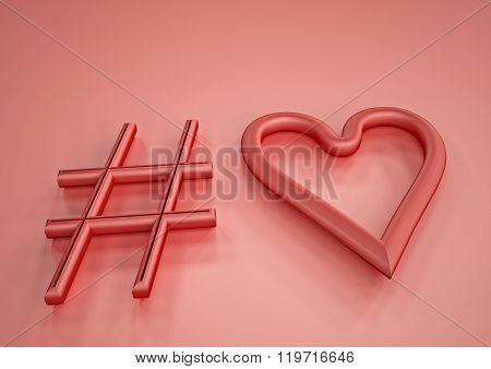 Dimensional Inscription Of Hashtag Heart
