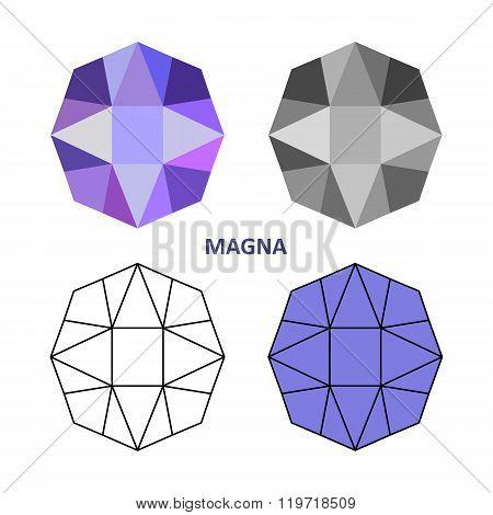 Low Poly Colored & Black Outline Template Magna Gem Cut
