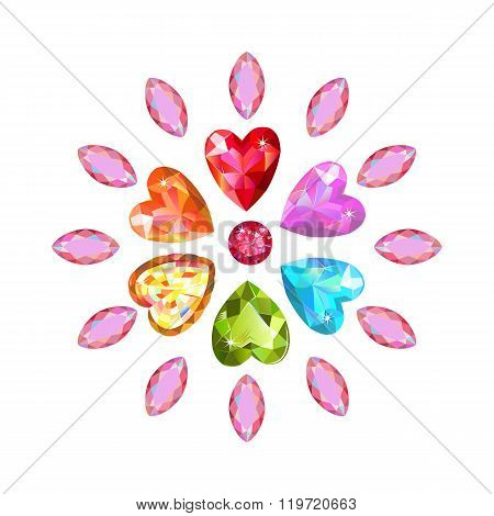 Texture Of Colored Marquise & Heart Cut Gems Isolated On White Background