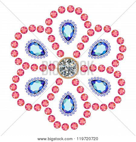 Texture Of Colored Marquise & Round Cut Gems Isolated On White Background