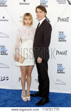 Zoe Kazan and Paul Dano at the 2016 Film Independent Spirit Awards held at the Santa Monica Beach in Santa Monica, USA on February 27, 2016.