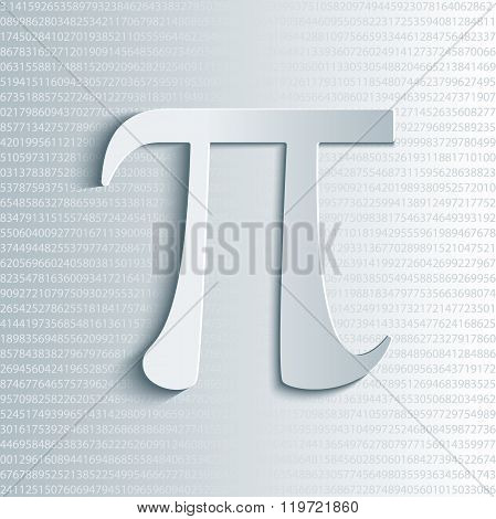 Pi symbol icon with numbers.