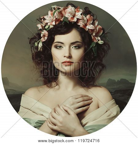 Beautiful Girl In A Wreath Of Orchids, Renaissance