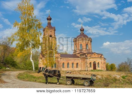 Landscape with old church in Chervlene village Sumy Oblast Ukraine