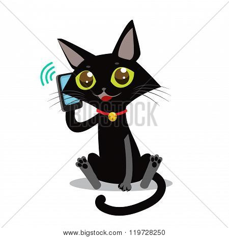 Cat With Phone. Sociable Cat Vector Picture. Cat Toy Picture. Vector Black Cat. Calling Cat Vector. Gregarious Cat. Bladder Cat Picture. Calling Kitten Picture. Cat Plush Vector. Chatterbox Cat.