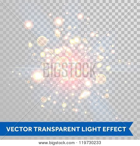 Vector shimmering sparks of fireworks explosion with bokeh optical effect. Red fire shining particles. Glitter light spray on transparent background.