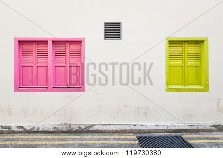 Colourful Windows Along Street