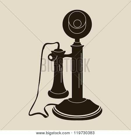 Retro telephone made with an isolated shape