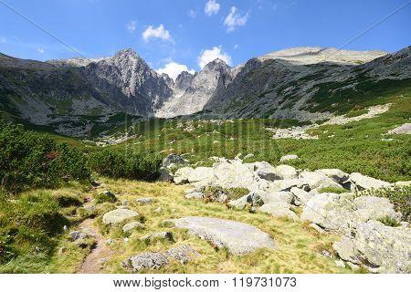 Tatra Mountains Slovakia with rocks in foreground Lomnicky stit