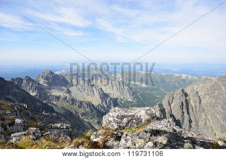 View of tatra mountains from Lomnicky stit peak