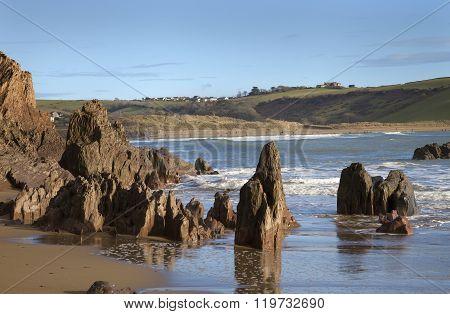The beach at Bigbury On Sea, Devon, England