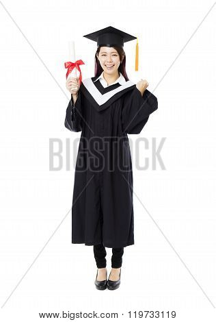 Full Length Of  Young Female College Graduation
