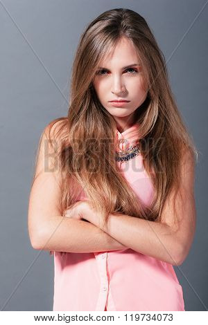 The girl expresses her angry