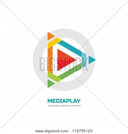 Media play - vector logo concept illustration. Media logo sign. Play logo icon. Player logo icon.