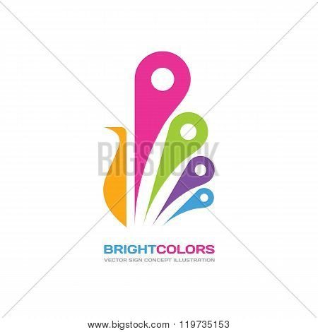 Bright colors - vector logo concept illustration in flat style design. Peacock bird stylized sign.