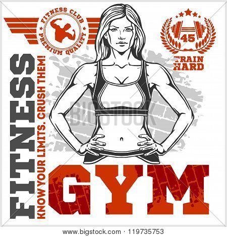 Fitness club and gym label. Athletic woman.