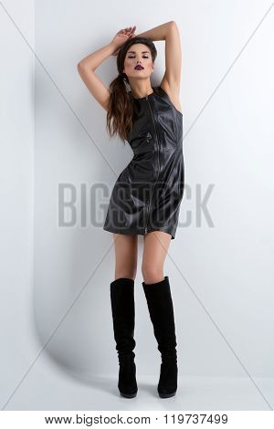 Girl in fancy leather dress