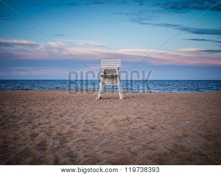 Lifeguard Chair on Rehoboth Beach at Sunset