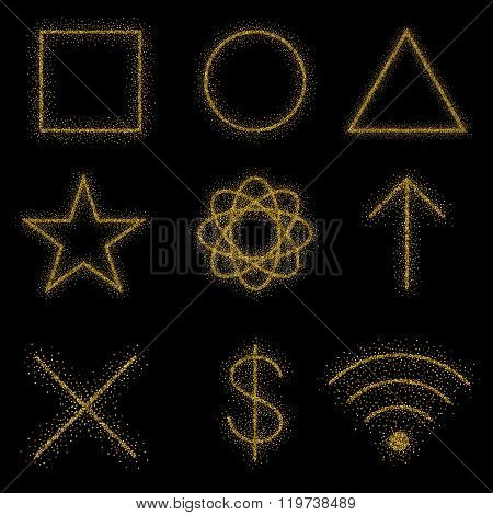 Gold Symbols On Black Background